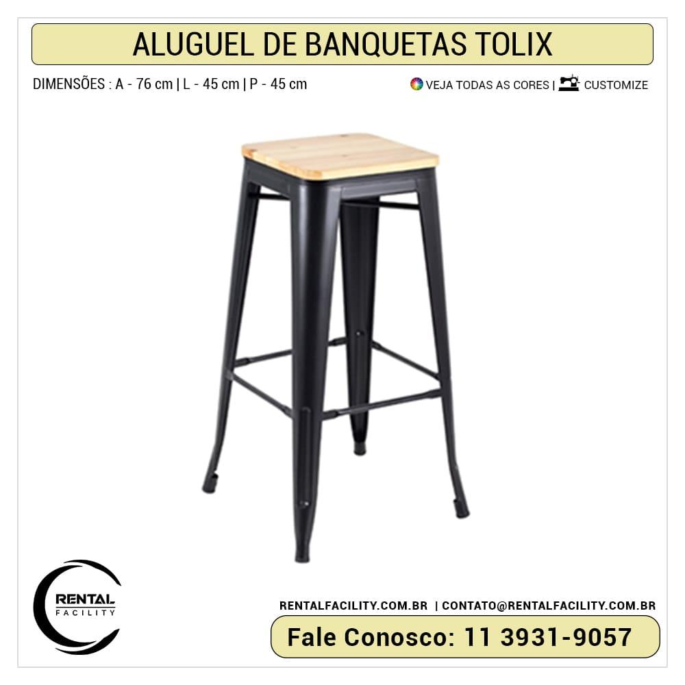 Aluguel de Banquetas Tolix preta com assento madeira