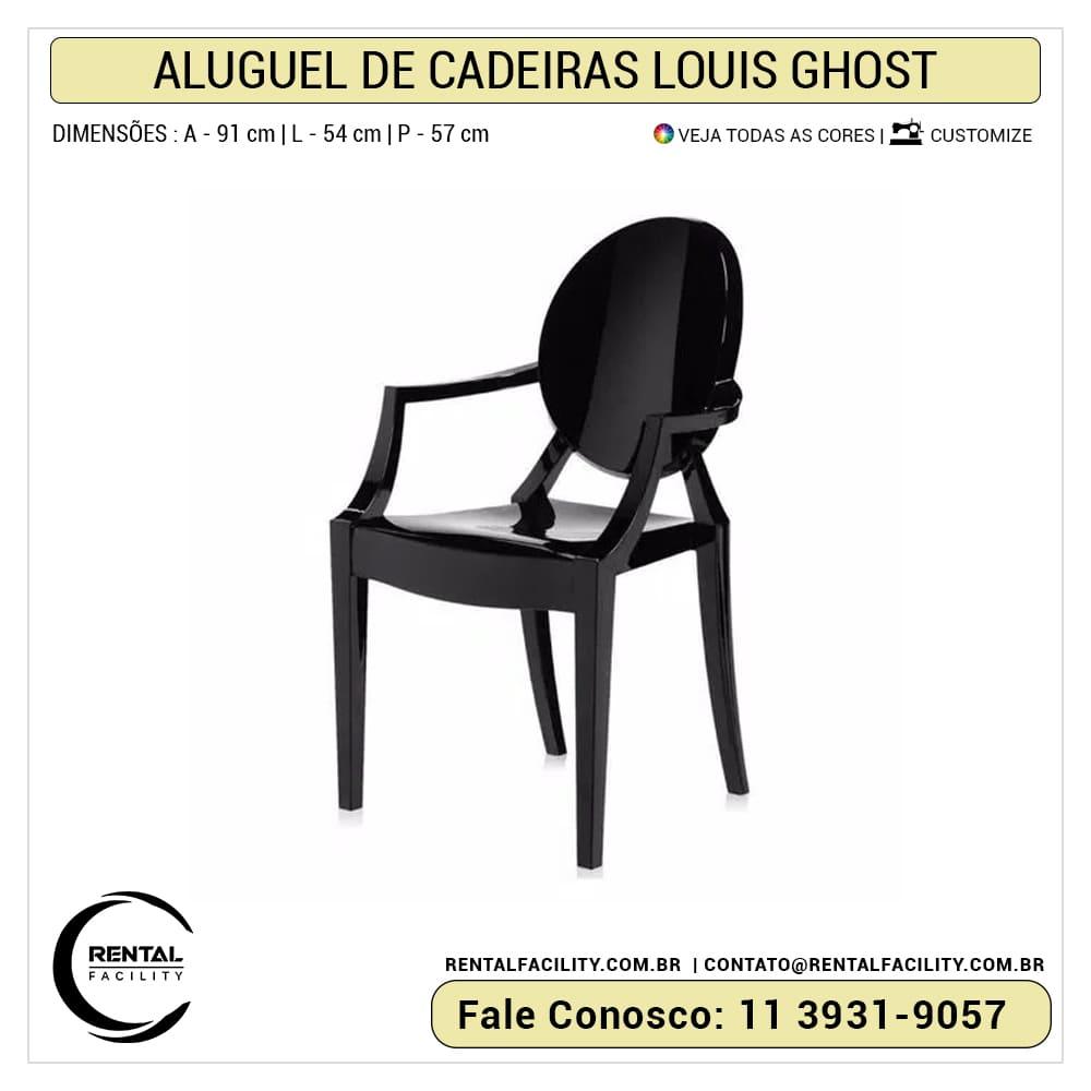 Aluguel de cadeiras louis ghost preta